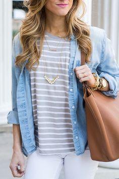chambray, stripes, & white jeans.