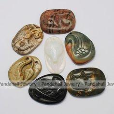 Semi-drahokam Prívesky, Mixed Stone 37 ~ ~ 52x27 51x9 ~ 11 mm, otvor: 1 ~ 2,5 mm