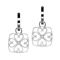 Sterling Diamond Filigree Large Cushion Earring Charms from Oliver Smith Jeweler.