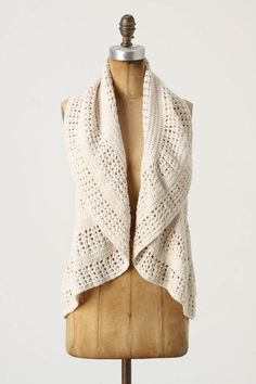 Soft Shoulder Vest at Anthropologie. Fall Dresses, Fall Outfits, Cute Outfits, Cold Weather Fashion, Winter Fashion, Celebrity Wedding Dresses, Crochet Woman, Crochet Clothes, Anthropologie