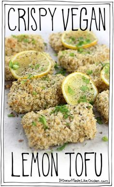 Crispy Vegan Lemon Tofu! Marinate the tofu in a lemon garlic sauce for up to three days for an easy make ahead meal. Then bake or fry in a crispy panko coating. Vegetarian, oil-free #itdoesnttastelikechicken