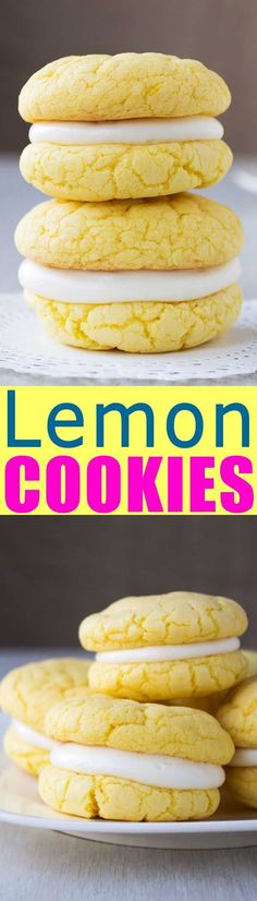 Easy Lemon Sandwich Cookies from cake mix with cream cheese frosting. So soft and chewy! | #recipe #recipeoftheday #dessert #dessertrecipes #cookies #lemon #creamcheese #food #foodblog #foodgasm #foodgawker #easter #spring #eastercookies #delicious #spring #dessertfoodrecipes