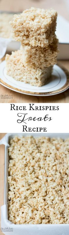 This Rice Krispies Treats Recipe yields big, butter-y and chewy squares (makes 9 squares). www.lifeslittlesweets.com
