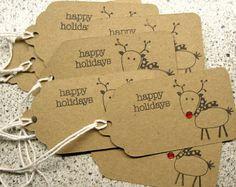 Navidad regalo etiquetas Reno con nariz por LaurasPaperCreations