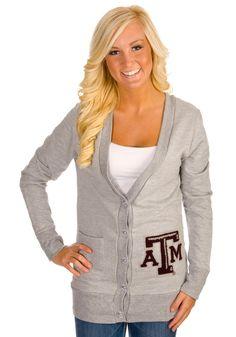 Texas A & M Aggies Womens Gray Varsity Cardigan