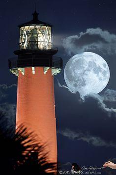 Full Flower Moon over Jupiter Lighthouse and Museum