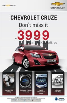 Chevrolet Cruze starting from KD at Alghanim Automotive Kuwait – 21 February 2015 Engine Start, Car Deals, Chevrolet Cruze, February 2015