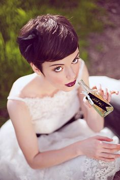 Pixie hair...proof short hair can be pulled off on a wedding day..