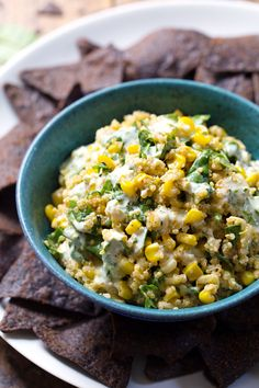 Healthy Jalapeño Quinoa Corn Dip - this yummy dip is so simple and perfect for quick lunches. 200 calories. | pinchofyum.com #vegetarian #corn #dip