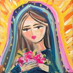 Our Lady Of Guadalupe Art Print by devinepaintings - X-Small Virgin Mary Painting, Virgin Mary Art, Arts And Crafts For Teens, Arts And Crafts House, Let's Make Art, Canvas Art Projects, Frida Art, Cross Art, Angeles
