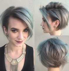 Short Shaggy Gray with blues Hairstyle