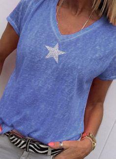 Blue Tie-Dye Pattern Lace Up Split V-Neck Island Travel Top 200 mv Blouse S M L