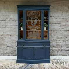China cabinet restyle into an amazing farmhouse inspired stately piece. Refurbished Furniture, Repurposed Furniture, Unique Furniture, Furniture Makeover, Painted Furniture, Furniture Ideas, Gothic Furniture, Dresser Makeovers, Office Furniture