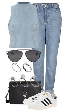 """""""Untitled #2130"""" by rosyfilm ❤ liked on Polyvore featuring Topshop, Yves Saint Laurent, adidas Originals, Christian Dior and ASOS"""
