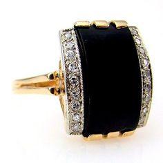 Stunning Black Onyx and Diamond Ring in 14K Yellow Gold  2e0ff36b1917f