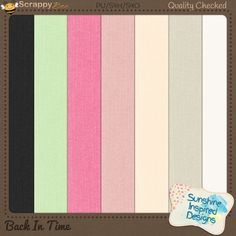 Back In Time - Cardstock Pack included in {Back In Time} Collection by Sunshine Inspired Designs. includes 7 solid papers with fabric texture in mint green, 2 shades of pink, 2 shades of off-white/cream, white and black. This Collection will bring back memories of music records and jukeboxes. This retro kit is perfect for scrapbooking all the old photos you have stored in a shoe box at the back of your closet for years now.