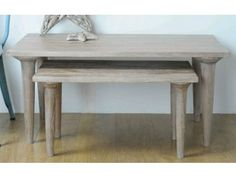 Mono Nest of 2 Coffee Tables Whitewash with sophisticated mid-century styling £272.00