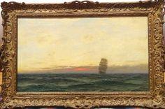 Fine 19th Century Coastal Ship Sailing Sunrise Dolphins Antique Oil Painting | eBay