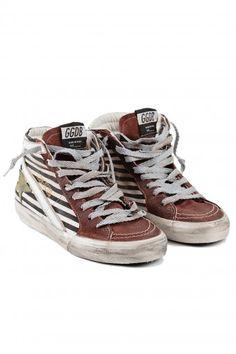 Golden Goose Black/Natural Striped Slide Sneaker