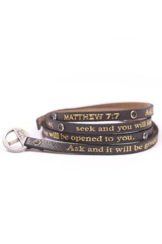 Good Works(s) Black Leather wrap around bracelet with stones with gold Matthew 7:7 inscription