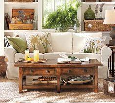 Easy relaxed coach and reclaimed wood coffee table -potterybarn #BarbsBeachHouseDecor