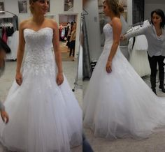 Elegant Sweetheart A-line Wedding Dresses Appliques Tulle Real Image Lace Beads Long Bridal Dresses Ball Gowns Buttons Back Sweep Train Online with $128.17/Piece on Hjklp88's Store