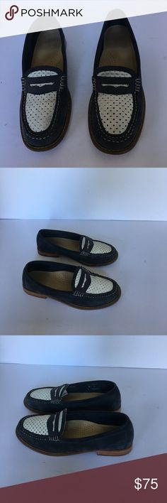Weejuns by Bass penny loafers 8 1/2 blue and white Weejuns blue suede  penny loafer with white suede Perforated vamp very good condition this is a classic shoe Weejuns Shoes Flats & Loafers