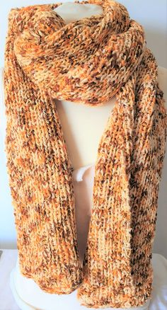 Long hand knitted scarf in orange, yellow and brown wool mix by Ebooksandhandmade on Etsy Yellow And Brown, Orange Yellow, Hand Knit Scarf, Mittens, Hand Knitting, Wool, Crochet, Etsy, Accessories