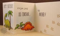 Lawn Fawn - Critters from the Past, Milo's ABCs, Jessie's ABCs, So Much to Say _ totally adorable and (gently) humorous birthday card by Jenny _ Old Dinosaur (inside) | Flickr - Photo Sharing!