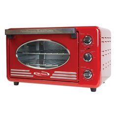 The Nostalgia Retro Series convection toaster oven will add a whimsical touch to your kitchen. This toaster oven can bake, toast, convection bake or broil making it a necessary applian Countertop Oven, Countertops, Bagels, Toaster Ovens, Breakfast Station, Stainless Steel Toaster, Nostalgia, Toaster, Pizza