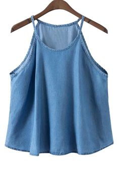 Women Blue Spaghetti Straps Sleeveless Denim Top - S Fashion Wear, Trendy Fashion, Fashion Outfits, Denim Top, Blue Denim, Polyester Material, Ideias Fashion, Tank Tops, Cute Outfits
