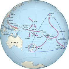 One set of arrows point from Taiwan to Melanesia to Fiji/Samoa and then to the Marquesas Islands. The population then spread, some going south to New Zealand and others going north to Hawai'i. A second set start in southern Asia and end in Melanesia. Polynesian People, Polynesian Culture, Post Classical History, Society Islands, Maori People, By Any Means Necessary, Easter Island, Hawaiian Islands, Historical Maps