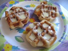 Cinnamon rolls in waffle maker ~ These were SO good!!