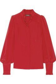 Sloan ruffled silk crepe de chine blouse