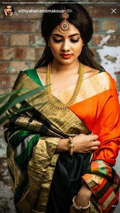 Modern Classic green hot saree for parties. For order whatsapp us on farewell farewell modern farewell teenagers farewell classy fat women teenagers modern indian for girls classy Bridal Silk Saree, Saree Wedding, Hair Wedding, Wedding Makeup, Beautiful Saree, Beautiful Indian Actress, Beautiful Women, Saree Poses, Wedding Saree Collection