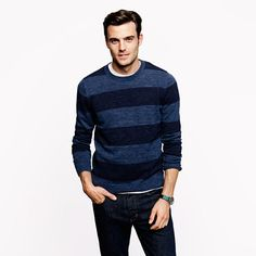 Flecked cotton sweater in stripe