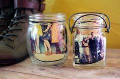 Display your favorite photos in jars.