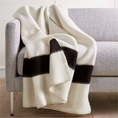 Siempre Recycled Ivory and Black Throw + Reviews | CB2 Faux Fur Blanket, Chunky Blanket, White Faux Fur Throw, Cable Knit Throw, Sheepskin Throw, Knitted Throws