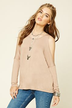 A heathered knit top featuring an open-shoulder design, round neckline, and a flowy silhouette.