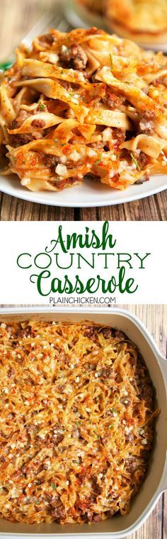 Amish Country Casserole - Hamburger, Tomato soup, cream of mushroom, onion, garlic, milk, Worcestershire sauce, egg noodles and parmesan cheese.