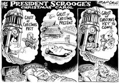 Zapiro - Jacob Zuma's Christmas Carol Scenes (Past, Present and Future) published in Sunday Times on 22 Dec 2013