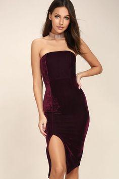 bd84fbe437c191 Lulus Exclusive! The Hey Baby Burgundy Velvet Strapless Bodycon Midi Dress  will make them do
