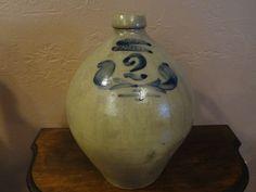 S Hart Stoneware Jug 2  Gallon Fulton NY