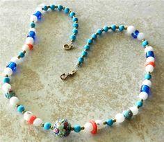 Old Wedding Cake Bead Necklace White Quartz Brass Blue Glass Coral