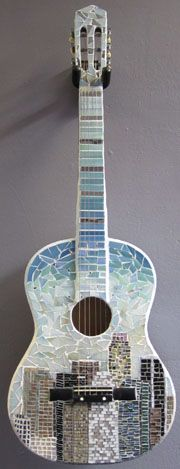 Downtown Revival by Kacie Arenson: Tile Art, Mosaic Art, Mosaic Glass, Mosaic Tiles, Fused Glass, Mosaic Crafts, Mosaic Projects, Art Projects, Guitar Art