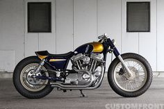 Custom Harley-Davidson XL Sportster 2001 by Gravel Crew   Chain final drive conversion   Straight pipes exhaust   One-off body work   Cut-off rear fender struts   Japan   via CustomFront.jp