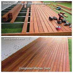 #buildingworksau Our pictures show during construction and the completed Merbau deck over steel under-frame. The steel under-frame is perfect for low to ground level deck construction. The Merbau decking boards are durable, nice colour, hard wearing and best to oil the deck at least once a year as over time the boards will go a grey colour just like any hardwood where the oil is not applied. #decks #newsbuildingworksaust