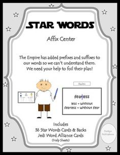 Common Core: Students will determine the meaning of the new word formed when a known prefix is added to a known word (e., happy/unhappy, tell/retell).Spark engagement and build vocabulary skills with this high interest affix center game. Ccss Ela, Prefixes And Suffixes, Root Words, Star Cards, Vocabulary Building, Retelling, Learning Centers, New Words, Assessment