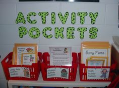 Activity pockets- 교실 내에 다양한 학습지, 학습 활동이 들어있는 박스를 놓고 쉬는 시간이나 자유로운 수업시간에 학생들이 원하는 활동을 하도록 함.