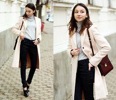 Coat, Turtleneck, Jeans, Necklace, Shoes, Bag